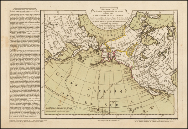 60-Polar Maps, Alaska, Pacific, Russia in Asia and California Map By Philippe Buache / Jean-Claude