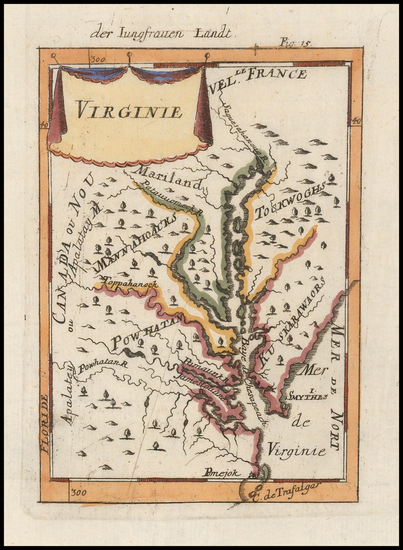 28-Mid-Atlantic, Southeast and Virginia Map By Alain Manesson Mallet