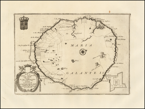 57-Caribbean and Other Islands Map By Vincenzo Maria Coronelli