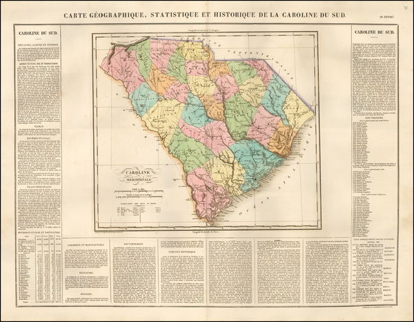Southeast and South Carolina Map By Jean Alexandre Buchon