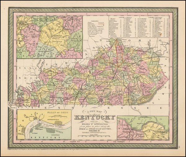 100-South and Kentucky Map By Thomas, Cowperthwait & Co.