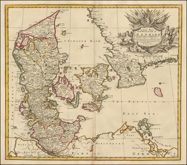 100-Denmark Map By John Senex