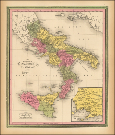 14-Italy, Southern Italy and Balearic Islands Map By Samuel Augustus Mitchell