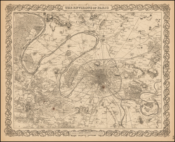 63-France and Paris Map By Joseph Hutchins Colton