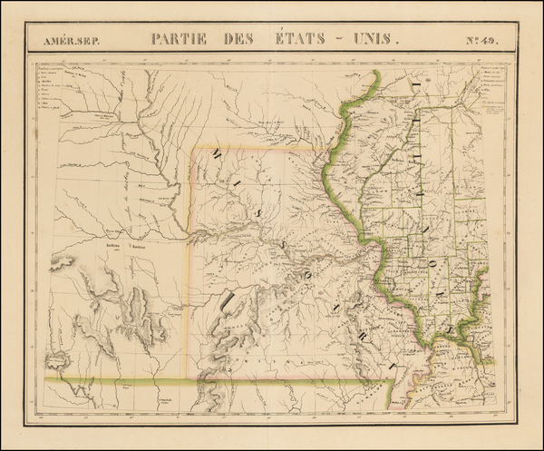 45-Illinois, Iowa, Kansas, Missouri and Nebraska Map By Philippe Marie Vandermaelen