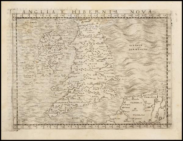 43-British Isles Map By Giacomo Gastaldi