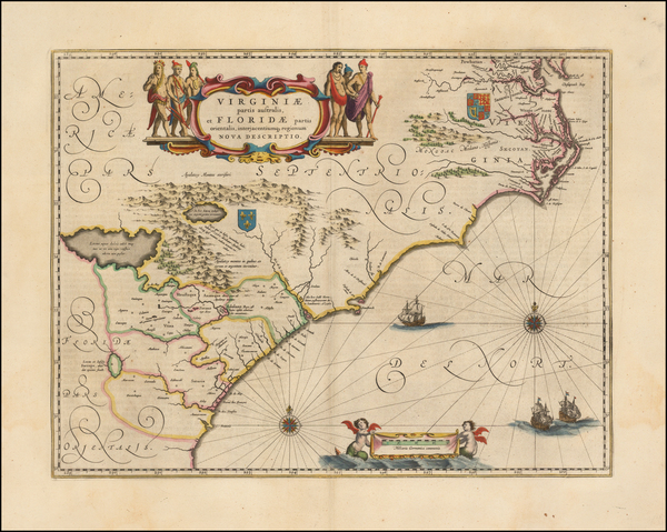 10-Southeast, Virginia, North Carolina and South Carolina Map By Willem Janszoon Blaeu