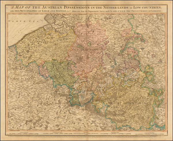 22-Belgium and Luxembourg Map By William Faden