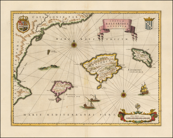 45-Spain and Balearic Islands Map By Willem Janszoon Blaeu