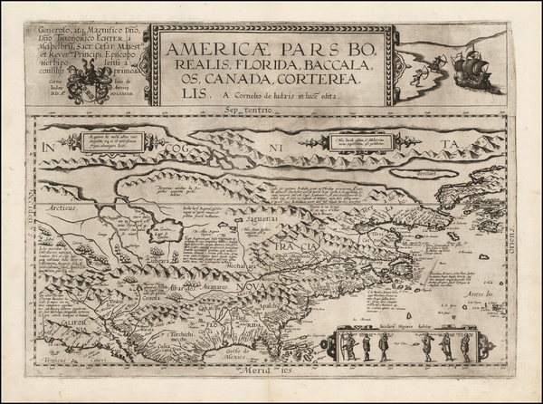 73-Polar Maps, United States and North America Map By Cornelis de Jode