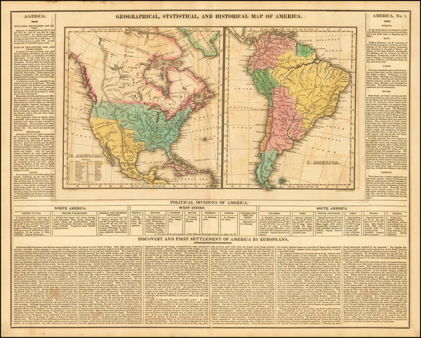 80-North America, South America and America Map By Henry Charles Carey  &  Isaac Lea