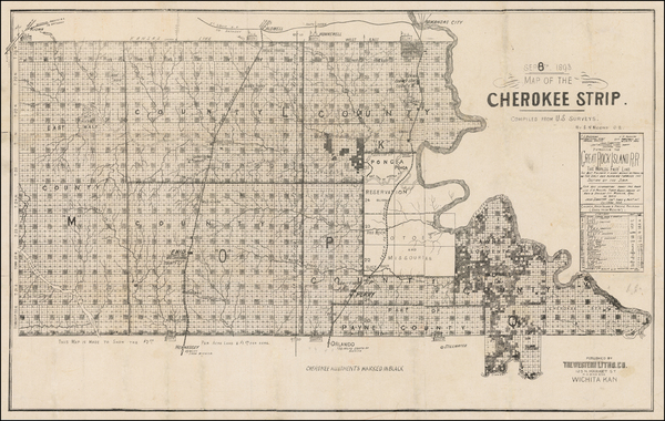 78-Plains, Oklahoma & Indian Territory and Southwest Map By Western Lithographing Co.