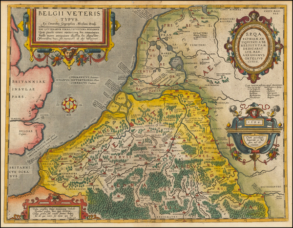 95-Netherlands and Belgium Map By Abraham Ortelius