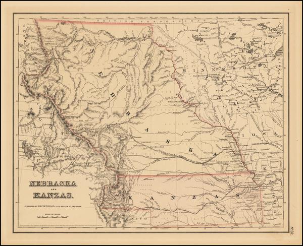 3-Plains, Kansas, Nebraska and Rocky Mountains Map By Joseph Hutchins Colton