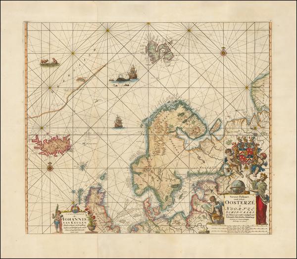 44-Atlantic Ocean, Russia, Baltic Countries, Scandinavia and Iceland Map By Johannes Van Keulen