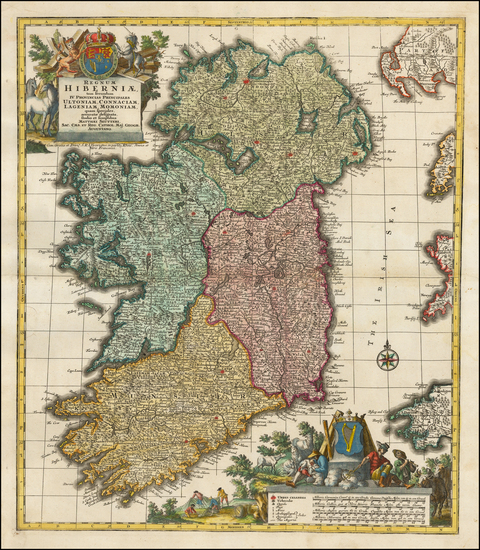 33-Ireland Map By Matthaus Seutter