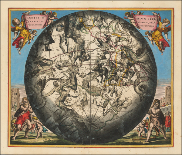32-Western Hemisphere, Southern Hemisphere and Celestial Maps Map By Andreas Cellarius