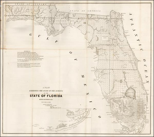 86-Florida Map By U.S. Surveyor General