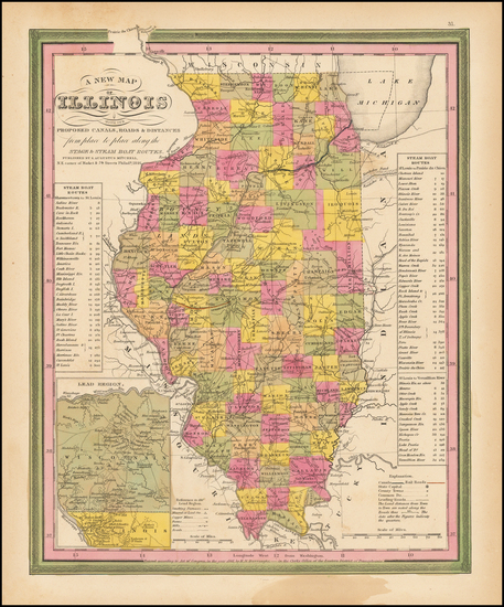 95-Illinois Map By Samuel Augustus Mitchell