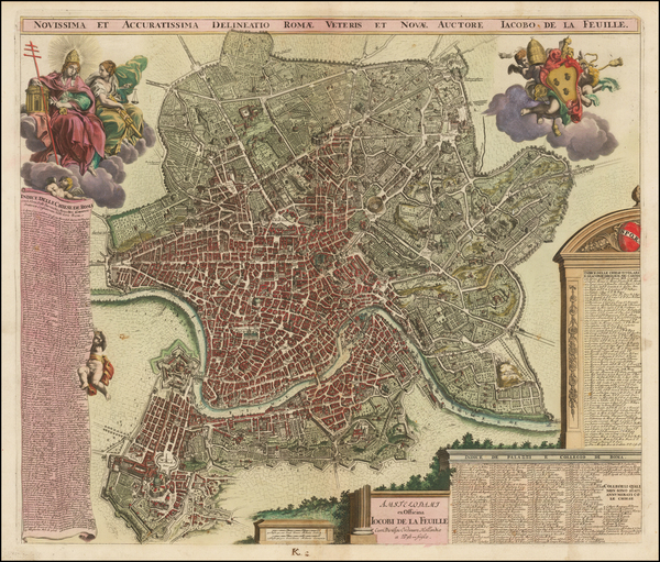 59-Rome Map By Jacob de la Feuille