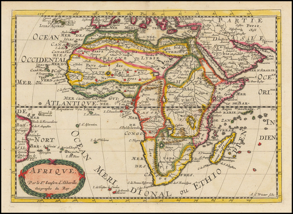60-Africa and Africa Map By Nicolas Sanson