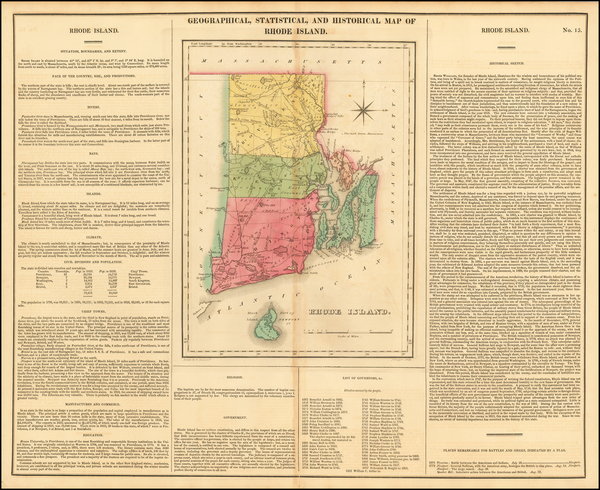 37-Rhode Island Map By Henry Charles Carey  &  Isaac Lea