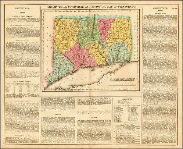 6-Connecticut Map By Henry Charles Carey  &  Isaac Lea