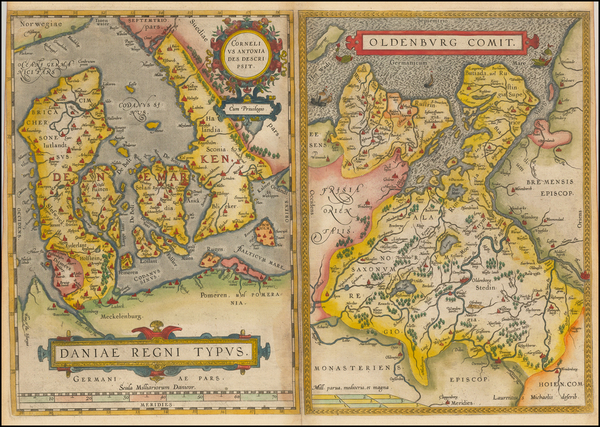 50-Germany and Denmark Map By Abraham Ortelius