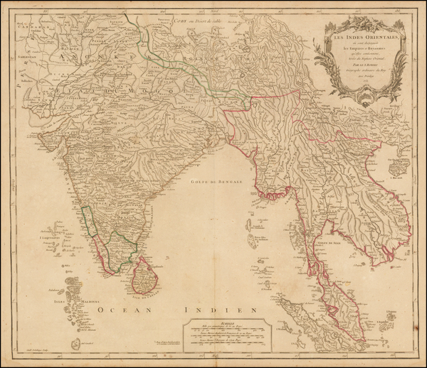 India and Southeast Asia Map By Gilles Robert de Vaugondy