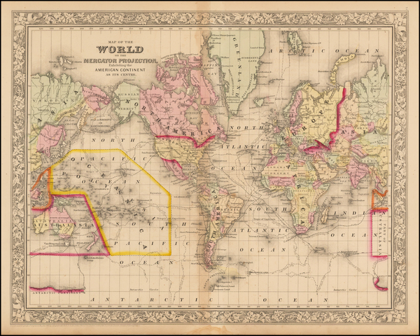 59-World and World Map By Samuel Augustus Mitchell Jr.