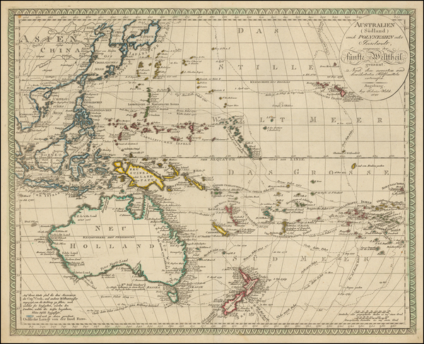 62-Korea, Southeast Asia, Philippines, Pacific, Australia and Oceania Map By Johann Walch