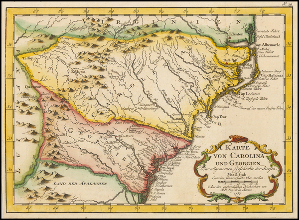 66-Southeast, Georgia, North Carolina and South Carolina Map By Jacques Nicolas Bellin