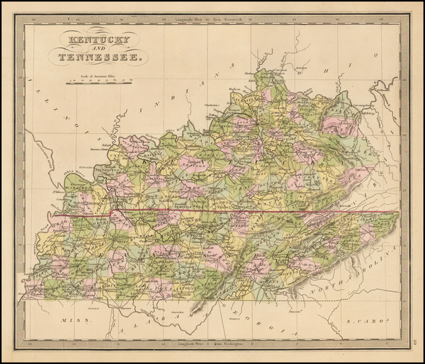 57-South, Kentucky and Tennessee Map By Jeremiah Greenleaf