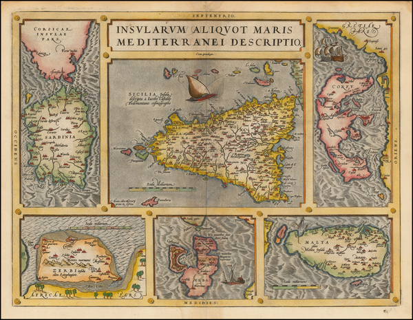 56-Italy, Greece, Mediterranean and Balearic Islands Map By Abraham Ortelius