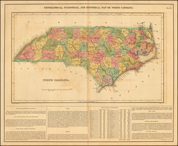 57-North Carolina Map By Henry Charles Carey  &  Isaac Lea