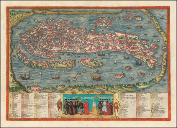 85-Venice Map By Georg Braun  &  Frans Hogenberg