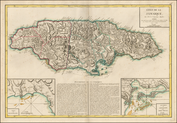 27-Caribbean and Jamaica Map By Jean Lattre
