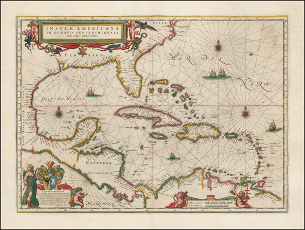 29-Florida, South, Southeast, Caribbean and Central America Map By Willem Janszoon Blaeu
