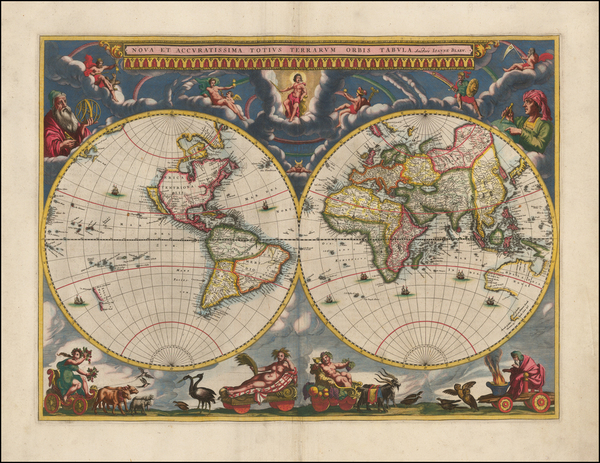64-World Map By Johannes Blaeu