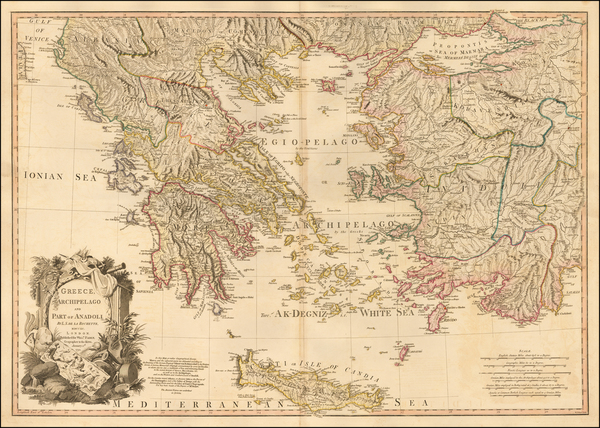 75-Greece, Turkey and Turkey & Asia Minor Map By William Faden
