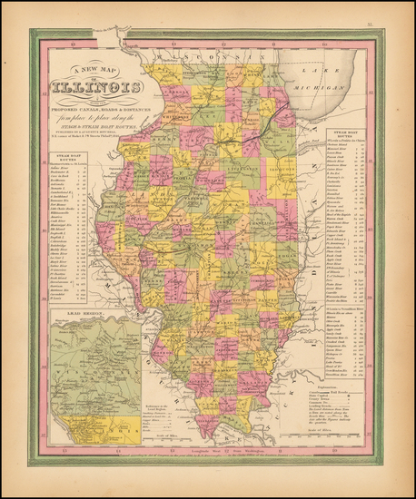 87-Midwest and Illinois Map By Samuel Augustus Mitchell