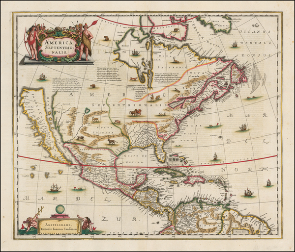 2-North America and California as an Island Map By Henricus Hondius / Jan Jansson