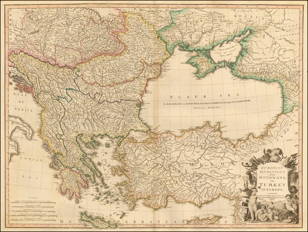 70-Russia, Ukraine, Balkans, Greece, Turkey and Turkey & Asia Minor Map By William Faden
