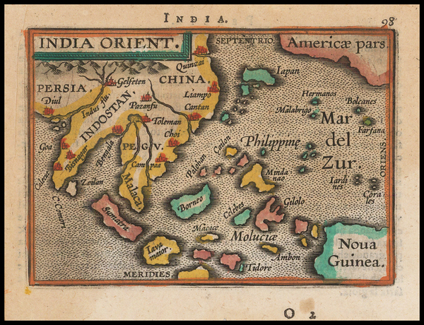 97-China, Southeast Asia and Philippines Map By Abraham Ortelius