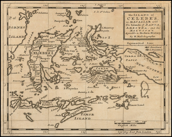88-Southeast Asia and Other Islands Map By Herman Moll