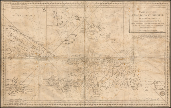46-Cuba, Hispaniola, Puerto Rico and Bahamas Map By Depot de la Marine