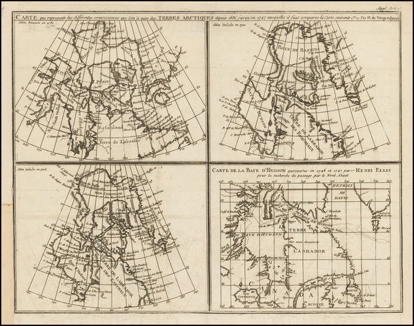Polar Maps and Canada Map By Denis Diderot  &  Didier Robert de Vaugondy