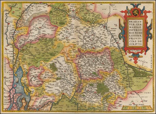 63-Belgium Map By Abraham Ortelius