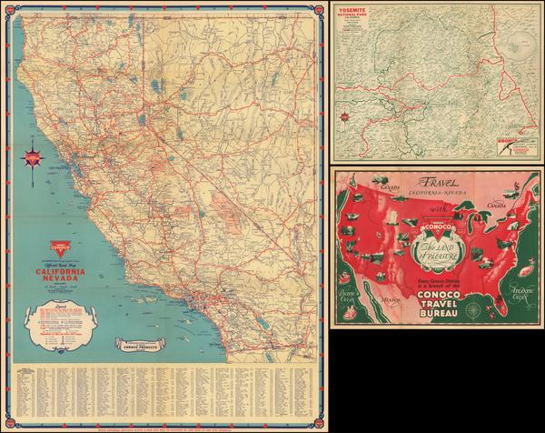 98-California and Yosemite Map By Gousha Company