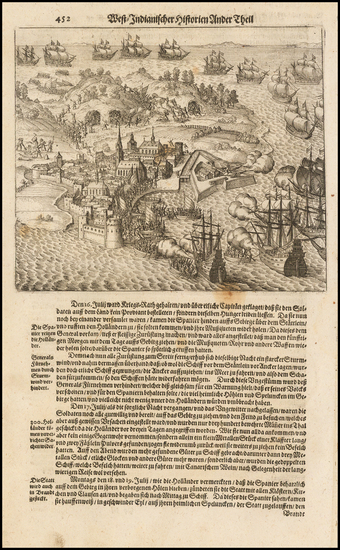 67-Caribbean Map By Theodor De Bry / Matthaeus Merian